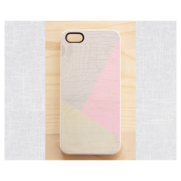 Obal na iPhone 5, Pastel Pink Geometric wood/white