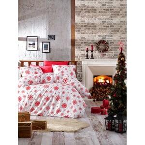 Lenjerie cu cearceaf pentru pat de o persoană, din bumbac ranforsat Nazenin Home Snow Red, 140 x 200 cm