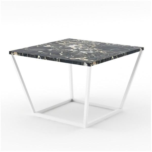 Malý černý konferenční stůl z mramoru s bílým podnožím Absynth Noi Italy