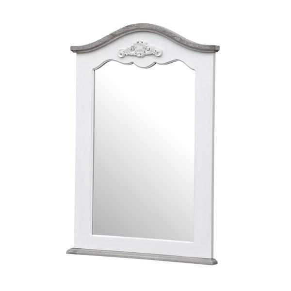 Bílé nástěnné zrcadlo z topolového dřeva s přírodními detaily Livin Hill Rimini,60x85cm