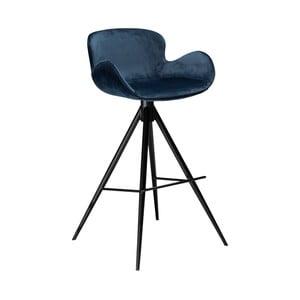Tmavě modrá barová židle DAN–FORM Denmark Gaia Velvet, výška 98 cm