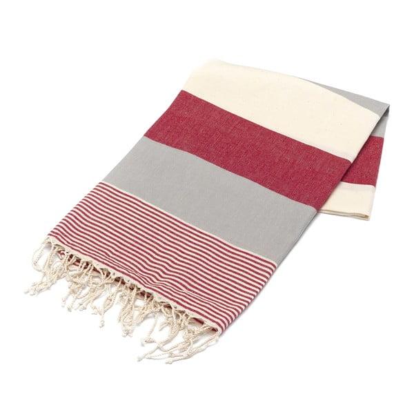 Hammam osuška American Stripes Red & Grey, 100x180 cm