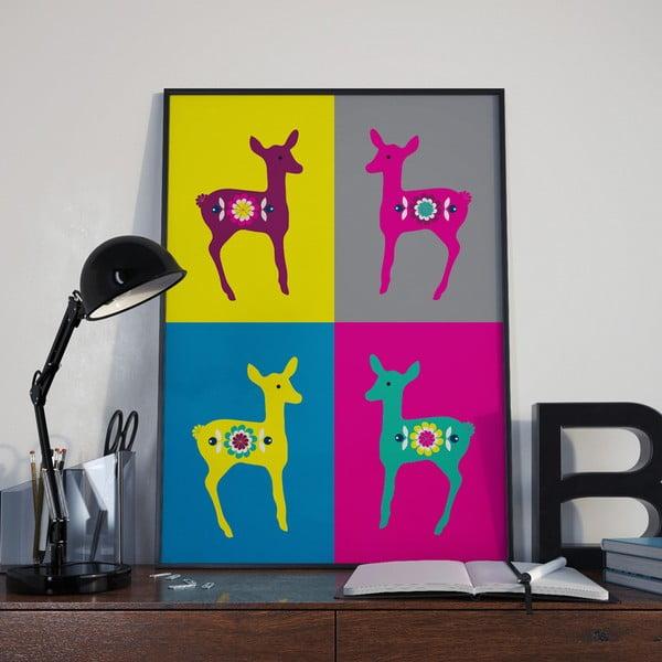 Plakát Srnky Warhol růžová, střední