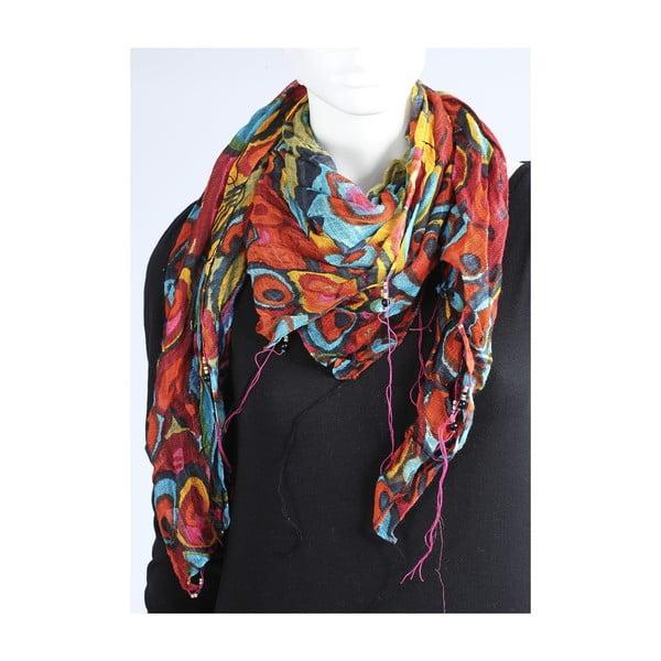 Oranžovomodrý šátek