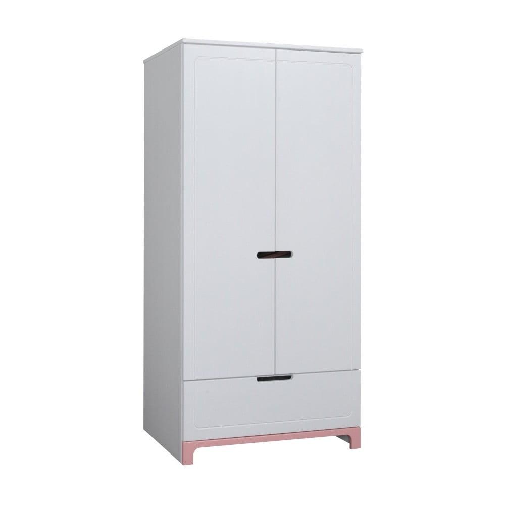 Bílo-růžová dvoudveřová šatní skříň Pinio Mini