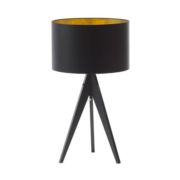 Černo-zlatá stolní lampa 4room Artist, černá lakovaná bříza, Ø 33 cm