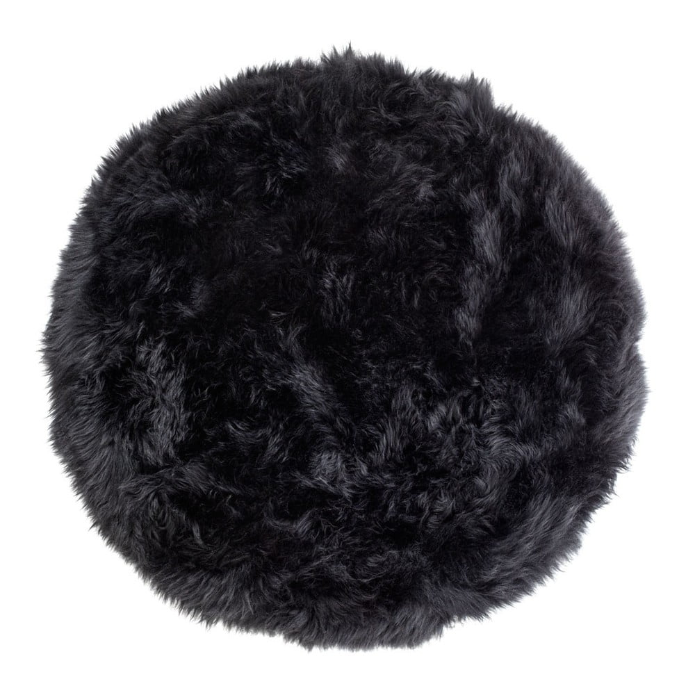 Černý koberec z ovčí kožešiny Royal Dream Zealand, ⌀ 70 cm