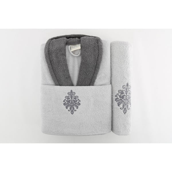 Sada županu a 2 ručníků Sobie Grey