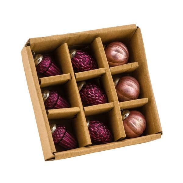 Zestaw 9 różowych ozdób świątecznych Ego Dekor