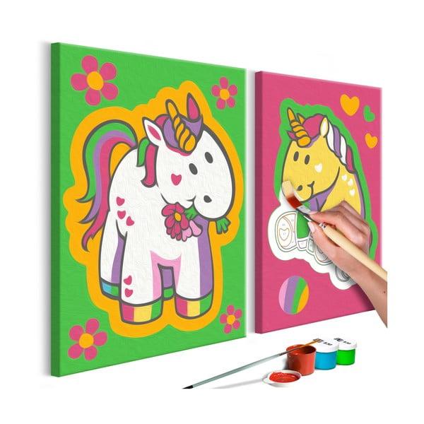 DIY set na tvorbu vlastného obrazu na plátne Artgeist Lovely Unicorns, 33 × 33 cm