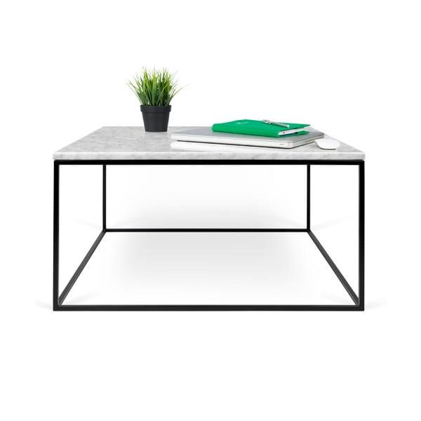 Bílý mramorový konferenční stolek s černými nohami TemaHome Gleam, 75 cm