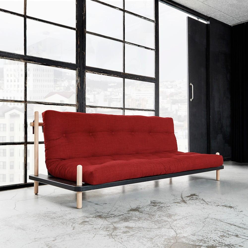 Rozkládací pohovka Karup Point, Black/Raw Beech/Passion Red