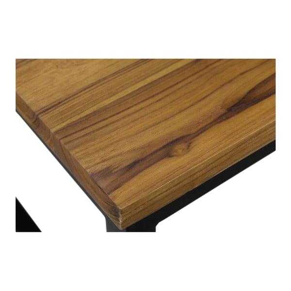 Konferenční stolek z teakového dřeva a kovu HSM collection, 80 x 80 cm