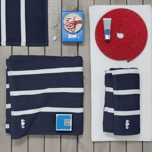 Set 3 ručníků Menton Indigo, 60x110 cm