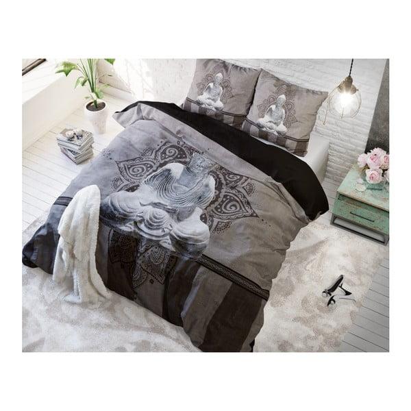Šedohnědé povlečení z mikroperkálu Sleeptime Buddha Love, 160x200cm