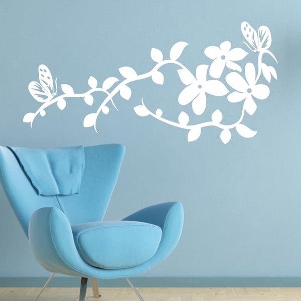 Samolepka na stěnu Ornament s květy, bílá