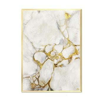 Tablou pictat manual JohnsonStyle White & Gold Marble Gold Frame, 53 x 73 cm de la JohnsonStyle