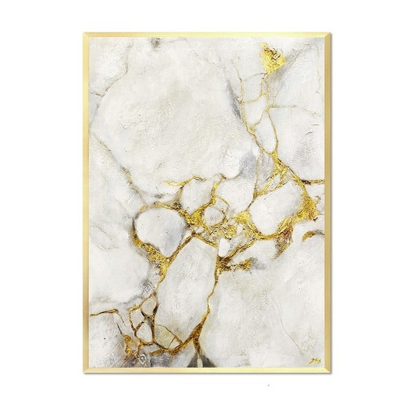 Nástěnný ručně malovaný obraz JohnsonStyle White & Gold Marble Gold Frame, 53 x 73 cm