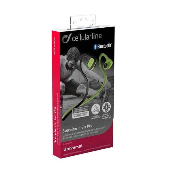 Černo-zelená sportovní bezdrátová In-ear sluchátka CellularLine SCORPION, Bluetooth