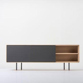 Comodă TV din lemn de stejar cu 2 sertare negre Gazzda Fina de la Gazzda