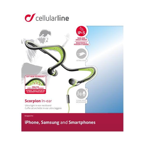 Černo-zelená sportovní ergonomická sluchátka CellularLine Scorpion
