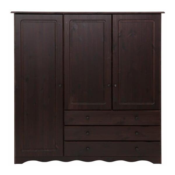 Tmavě hnědá šatní skříň z masivního borovicového dřeva Støraa Amanda Trio