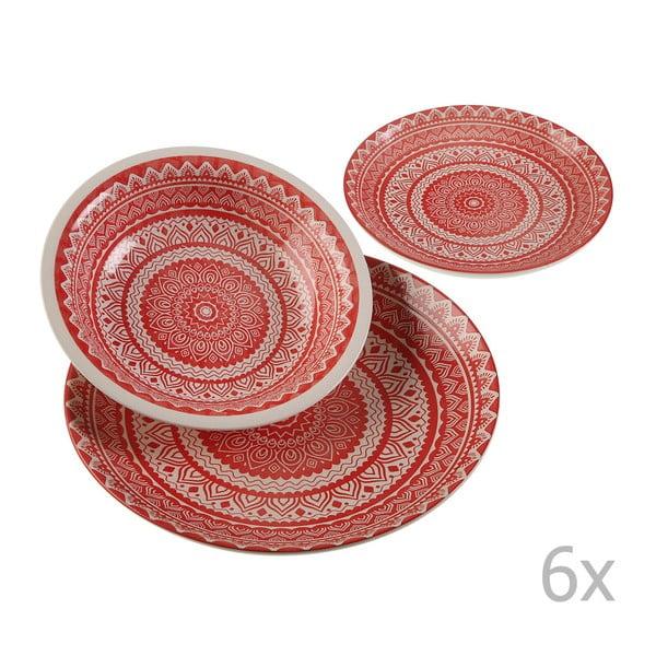 Vajilla Roja 18 darabos kerámia tányérkészlet - Versa