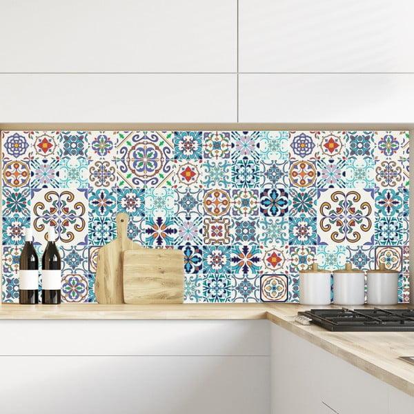 Sada 60 nástěnných samolepek Ambiance Tiles Azulejos Antibes, 10 x 10 cm
