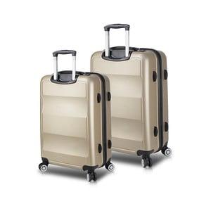 Sada 2 cestovních kufrů na kolečkách s USB porty ve zlaté barvě My Valice LASSO Cabin & Medium