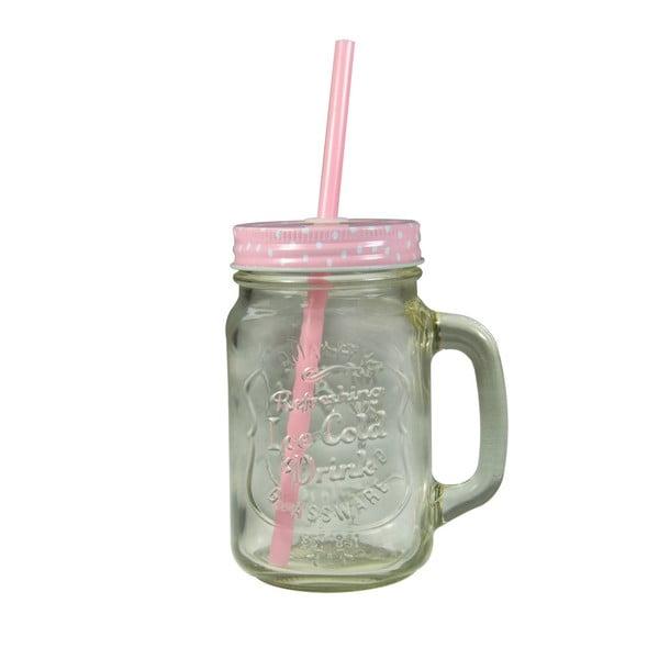 Sklenice s růžovým krytem a brčkem JOCCA Straw, 430 ml