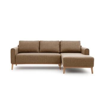Canapea cu șezlong pe partea dreaptă Vivonita Milton, maro deschis
