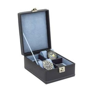 Tmavě modrý box na 4 hodinky Friedrich Lederwaren Carbon
