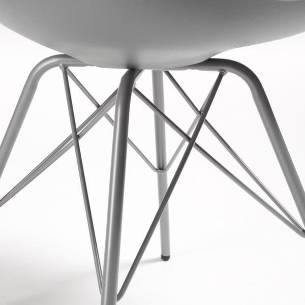 Šedá židle s kovovým podnožím La Forma Lars