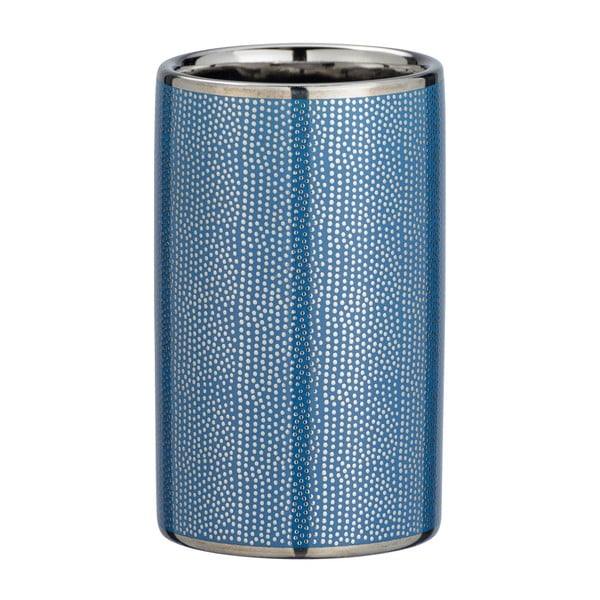 Modrý keramický kelímek na kartáčky s detailem ve stříbrné barvě Wenko Nuria