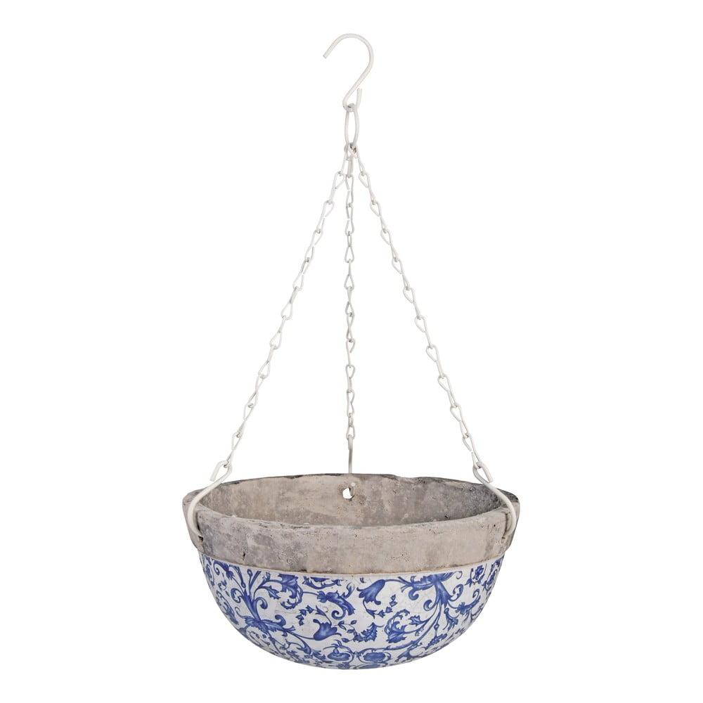 Modrobílý keramický závěsný květináč Esschert Design, 2,4 l