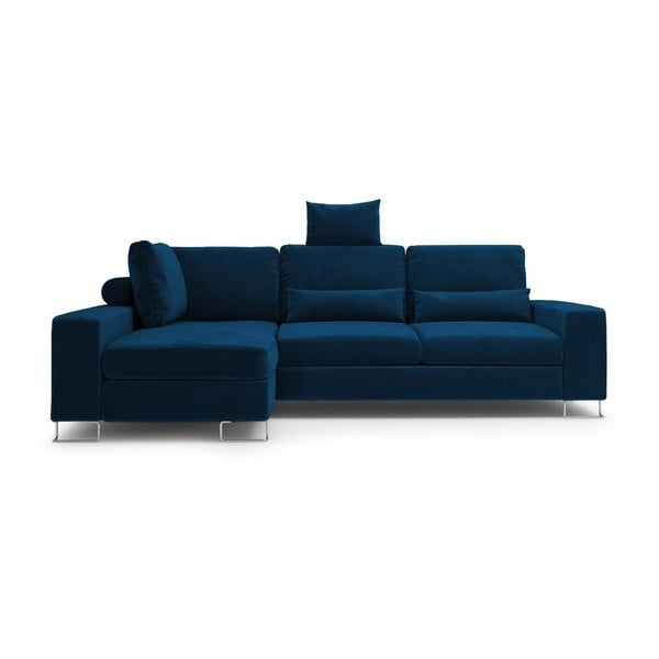 Královsky modrá rozkládací rohová pohovka se sametovým potahem Windsor & Co Sofas Diane, levýroh