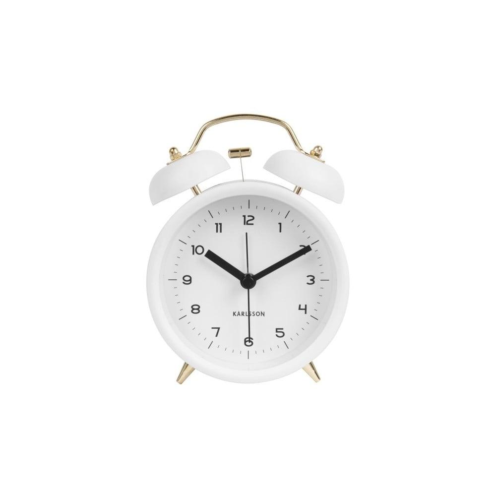 Bílý budík Karlsson Classic Bell, ⌀ 10 cm