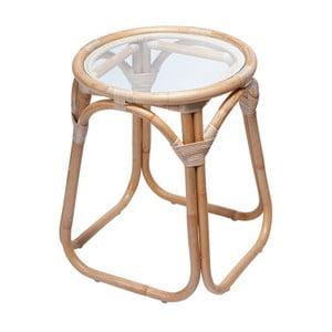 Ratanový odkládací stolek se skleněnou deskou RGE Marseille, ⌀ 50 cm