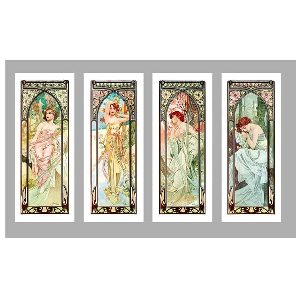 Times of The Day - 4 db Alfonze Mucha másolat, 40x100 cm