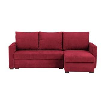 Canapea pe colț extensibilă cu 3 locuri și spațiu pentru depozitare Melart Andy roșu