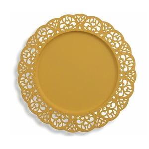 Sada 6 dekorativních žlutých kovových talířů Villa d'Este Pierced, ⌀32cm