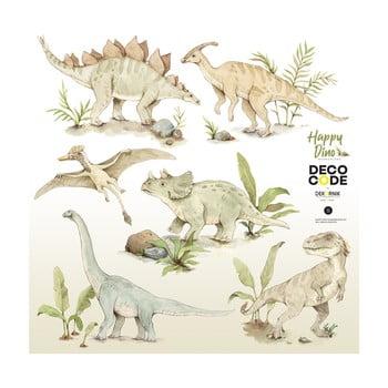 SSet autocolante de perete pentru camera copiilor Dekornik Happy Dinozauri, 70 x 70 cm imagine