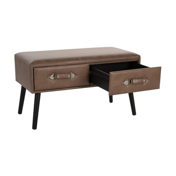 Hnědý odkládací stolek s potahem z umělé kůže Monobeli Juliana