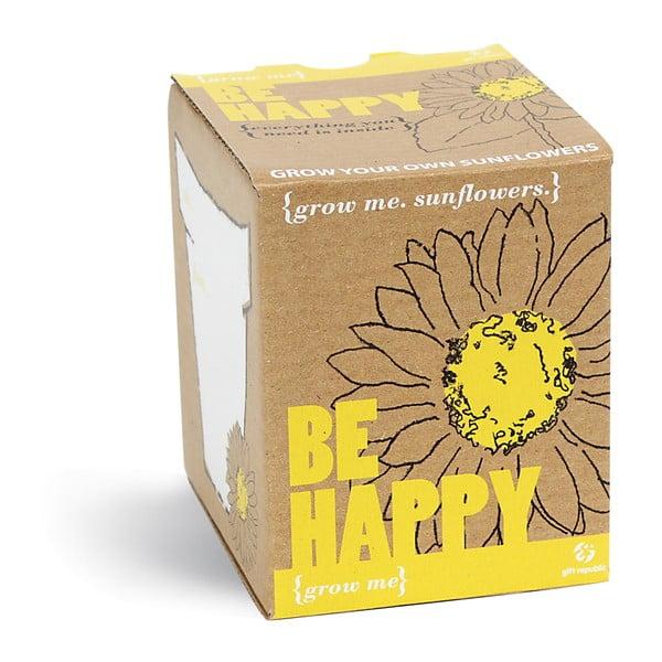 Zestaw do uprawy roślin z ziarnami słonecznika Gift Republic Be Happy
