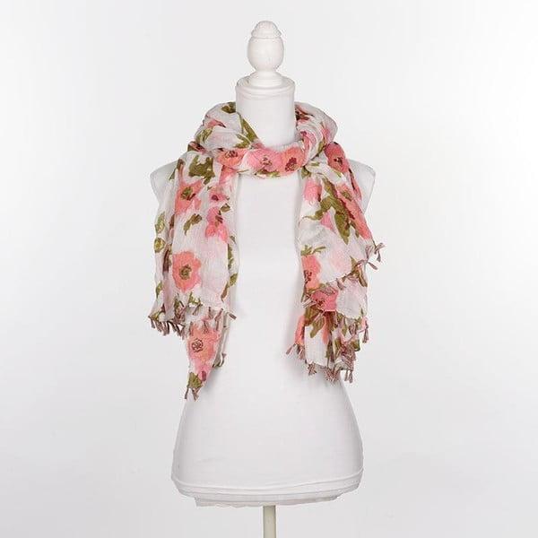 Šátek/pareo BLE Inart 100x180 cm, růžové květiny