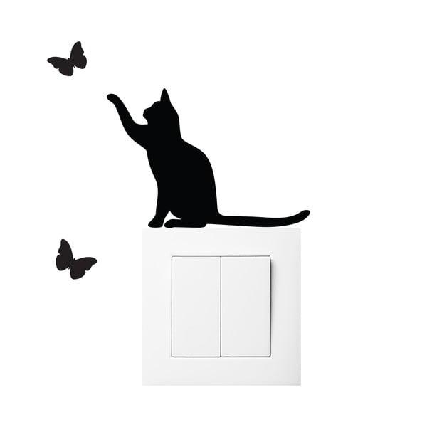 Autocolant negru pentru întrerupător Ambiance Cat