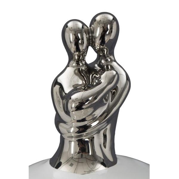 Bílá úložná keramická dóza s detaily stříbrné barvy Mauro Ferretti Family Grande