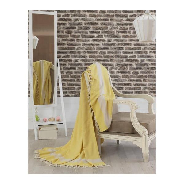Žltý bavlnený pléd cez posteľ Baliksirfi Yellow, 200 x 240 cm