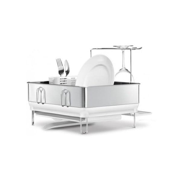 Stříbrný odkapávač na nádobí simplehuman