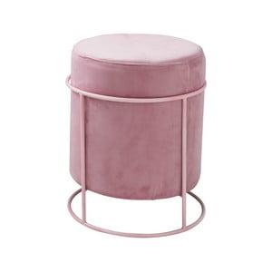 Pastelově růžový puf čalouněný Native Stack, ⌀ 37 cm
